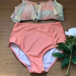 Swim Coral High Rise High Waist Bikini Bottom